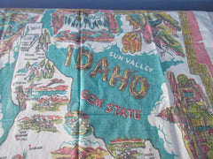 Rare Idaho Sun Valley Gem State Souvenir Novelty Vintage Printed Tablecloth (38 X 33)