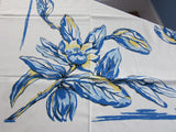 Blue Yellow Magnolias on Tan Floral MWT Vintage Printed Tablecloth (53 X 51)