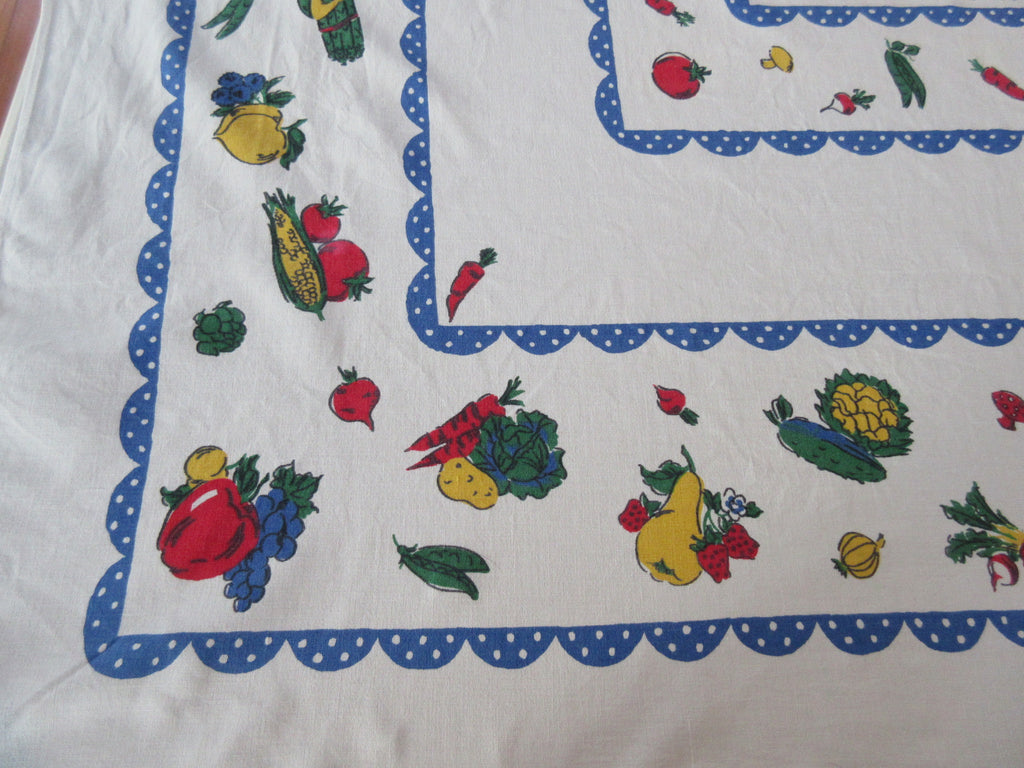 Primary Vegetables Blue Polkadots Vintage Printed Tablecloth (62 X 50)