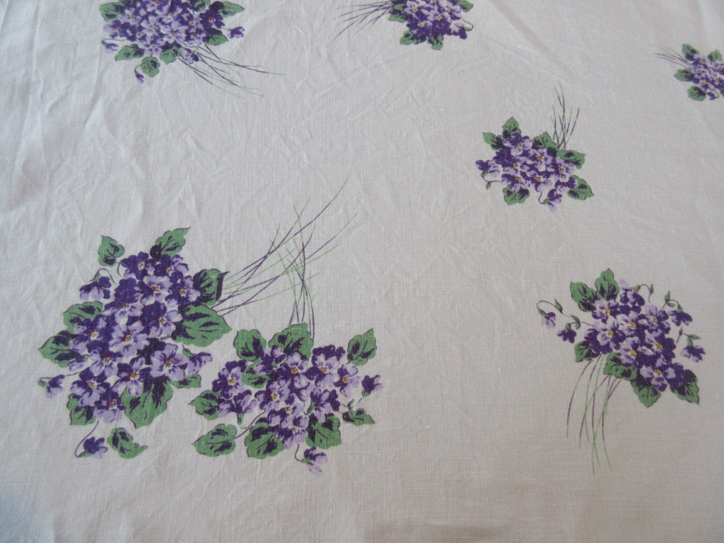 Purple Green Violets Linen Cutter? Floral Vintage Printed Tablecloth (50 X 48)