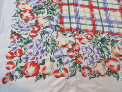 Bright Orange Blue Purple Green Plaid Rayon Vintage Printed Tablecloth (49 X 44)