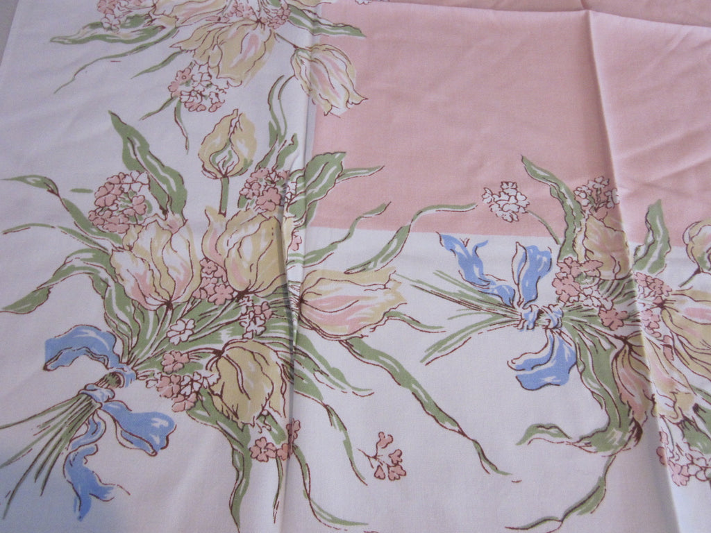 Greenaway Pastel Tulips on Pink Floral Topper Vintage Printed Tablecloth (34 X 30)