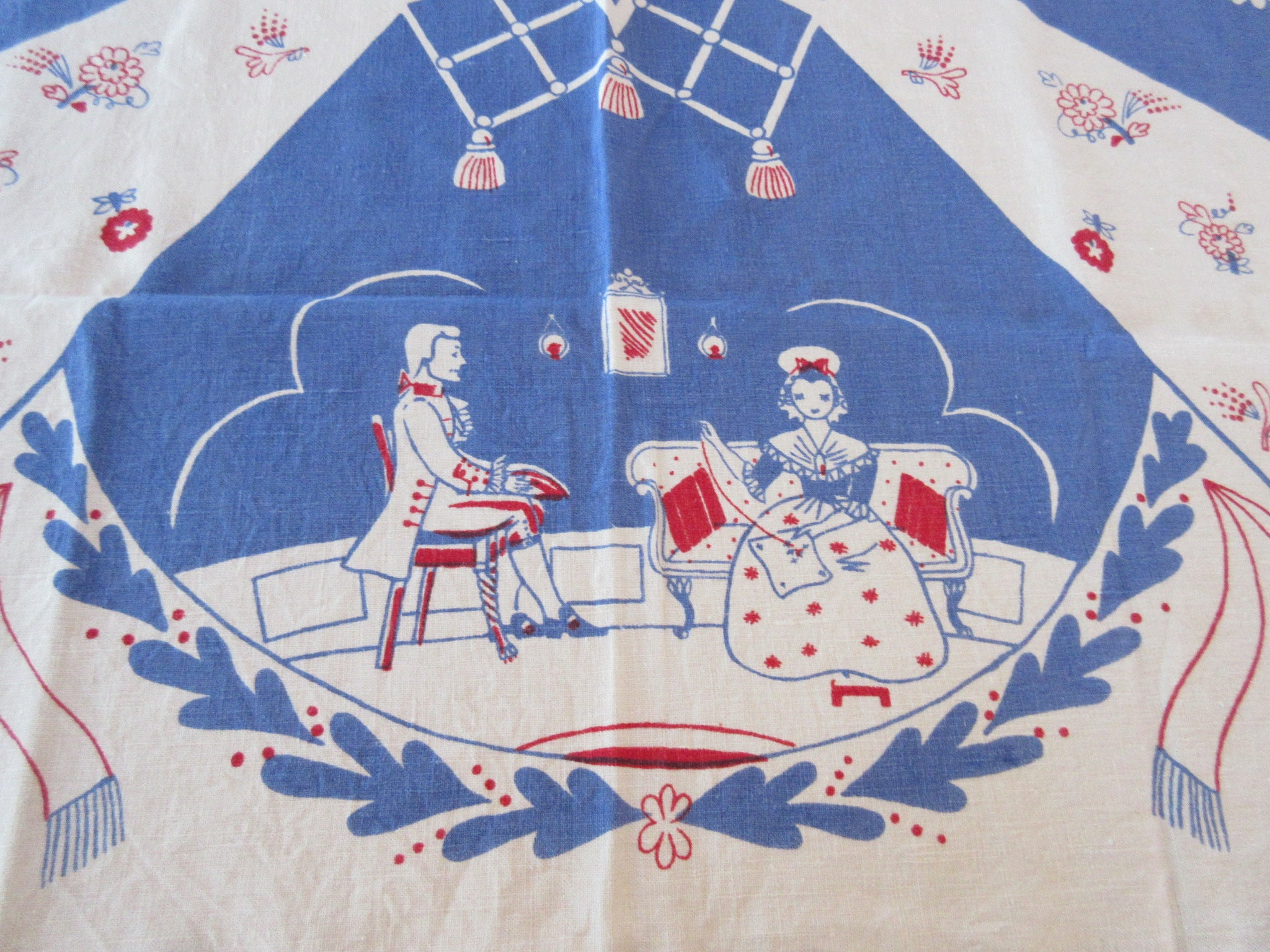 Rare Patriotic Betsy Ross Flag Emblem Novelty Vintage Printed Tablecloth (52 X 51)