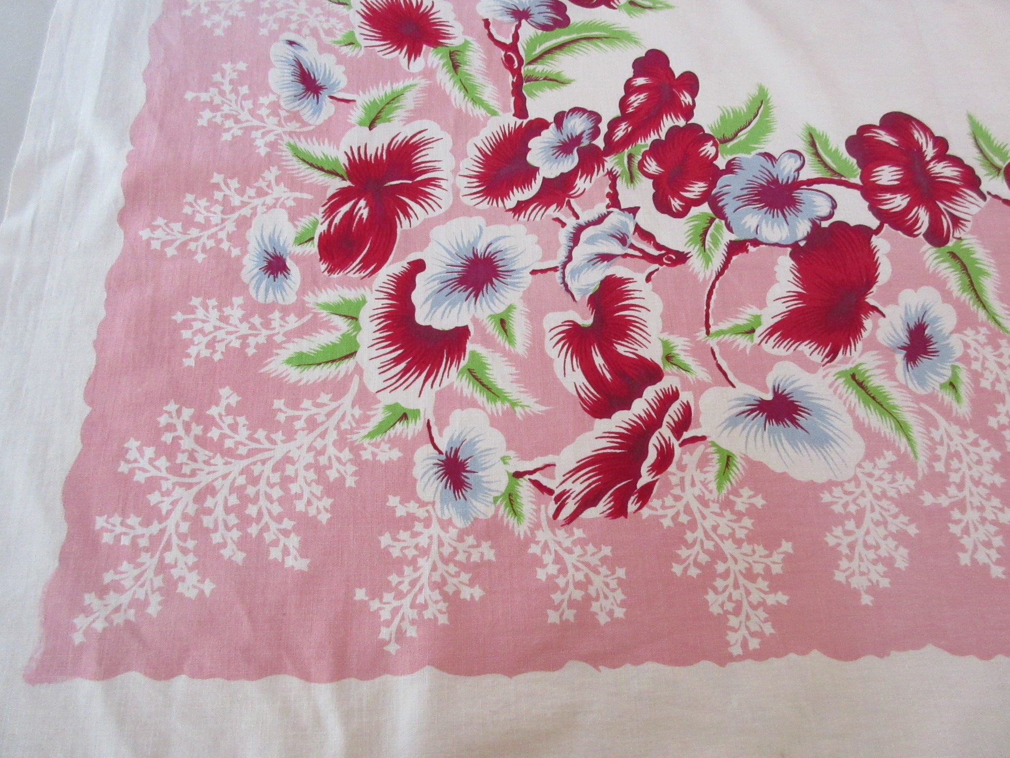 Red Green Tropical Flowers on Pink Floral Vintage Printed Tablecloth (51 X 51)