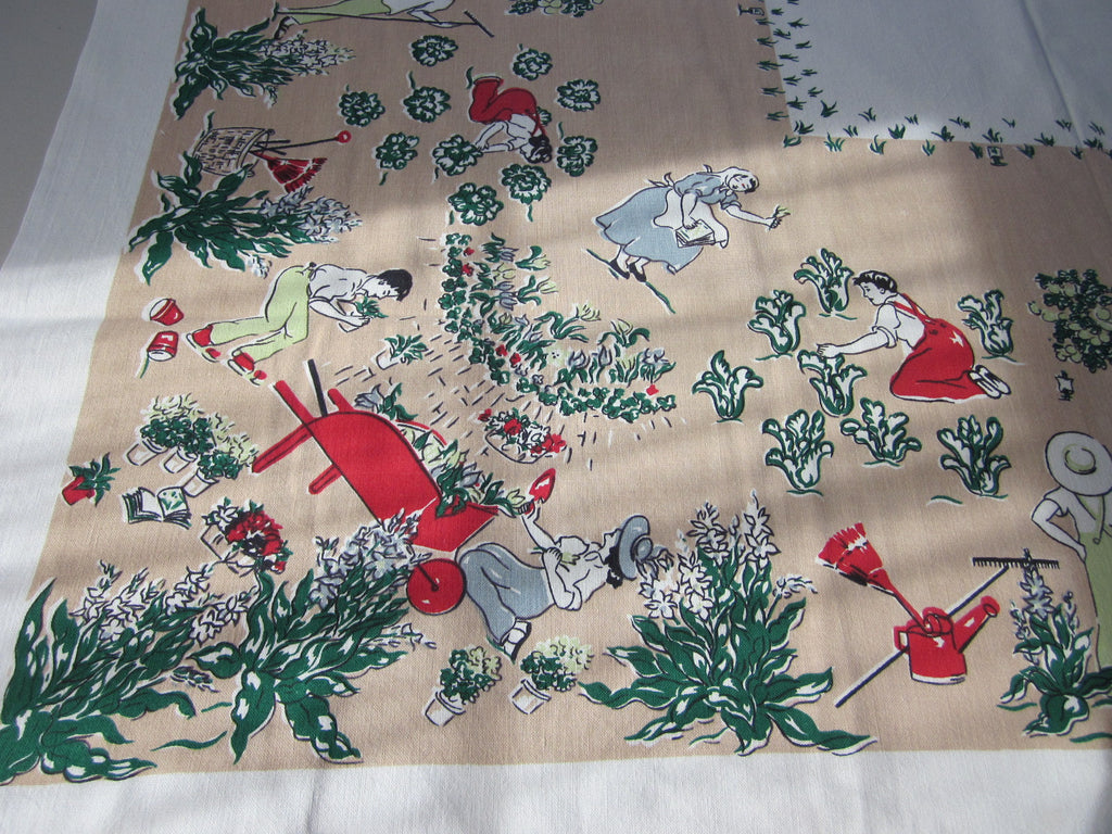 HTF Family Gardening on Tan Novelty Vintage Printed Tablecloth (52 X 49)