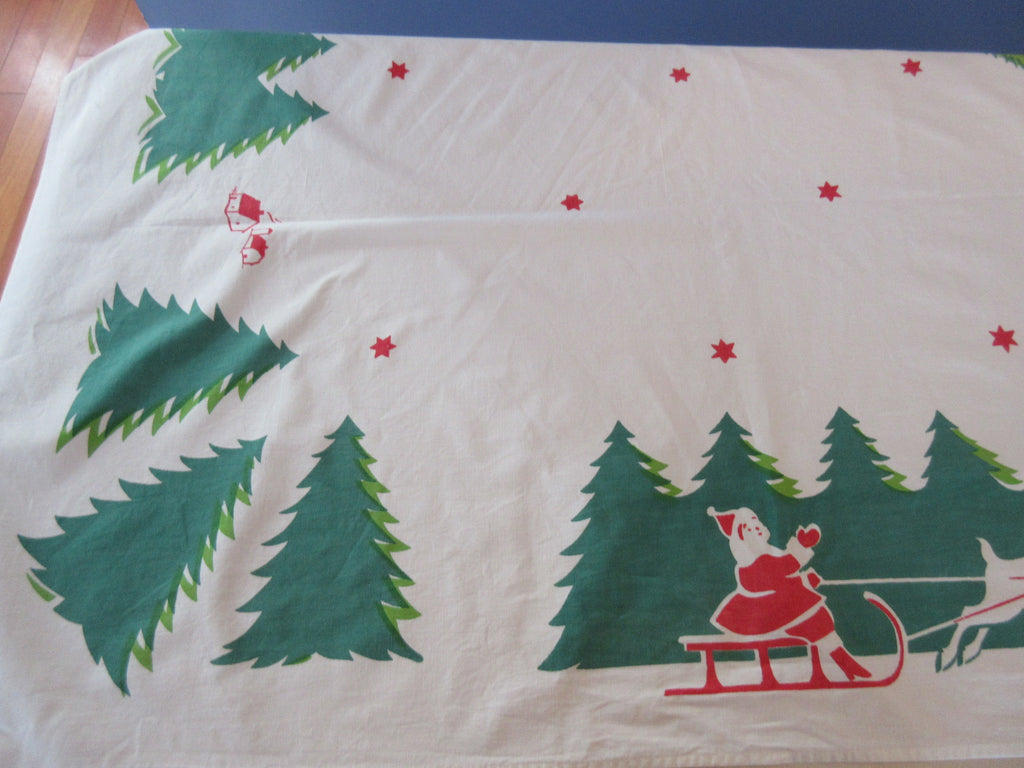 Large Early Christmas Santa Holidays Napkins Vintage Printed Tablecloth (108 X 64)