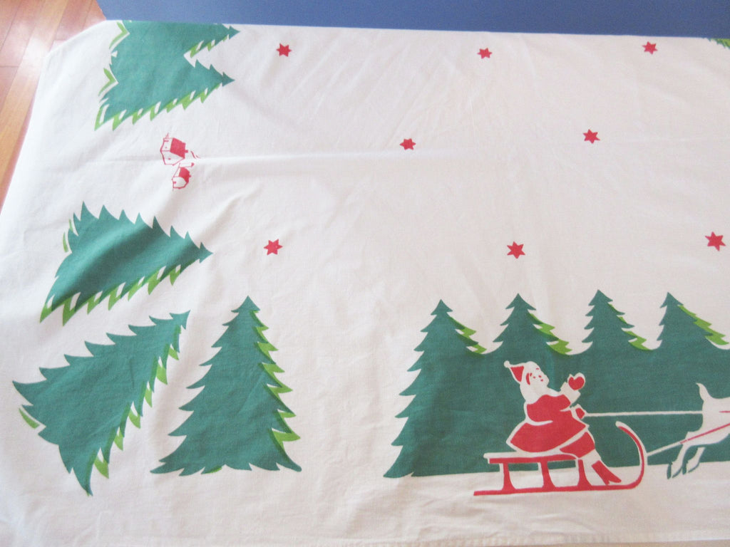Large Early Christmas Santa Holidays Vintage Printed Tablecloth (108 X 64)