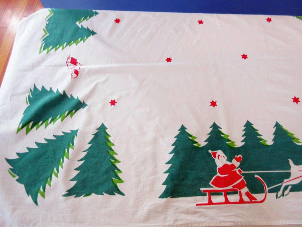 Early Christmas Santa Holidays Napkins Vintage Printed Tablecloth (86 X 62)