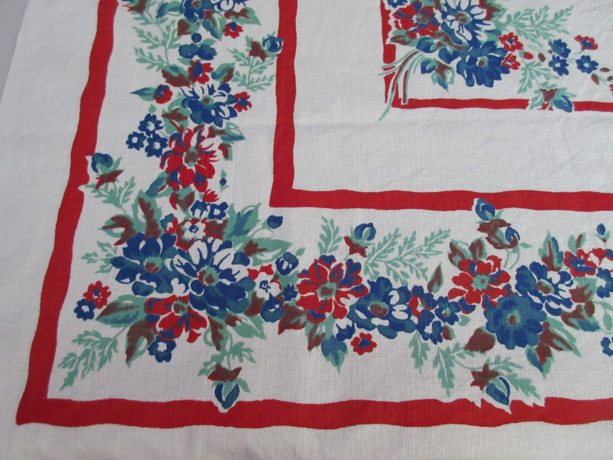 Primary Blue Green Floral on Red Vintage Printed Tablecloth (48 X 47)
