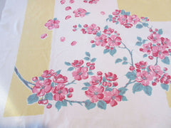 Pink Cherry Blossoms on Banana Yellow Floral Vintage Printed Tablecloth (54 X 47)