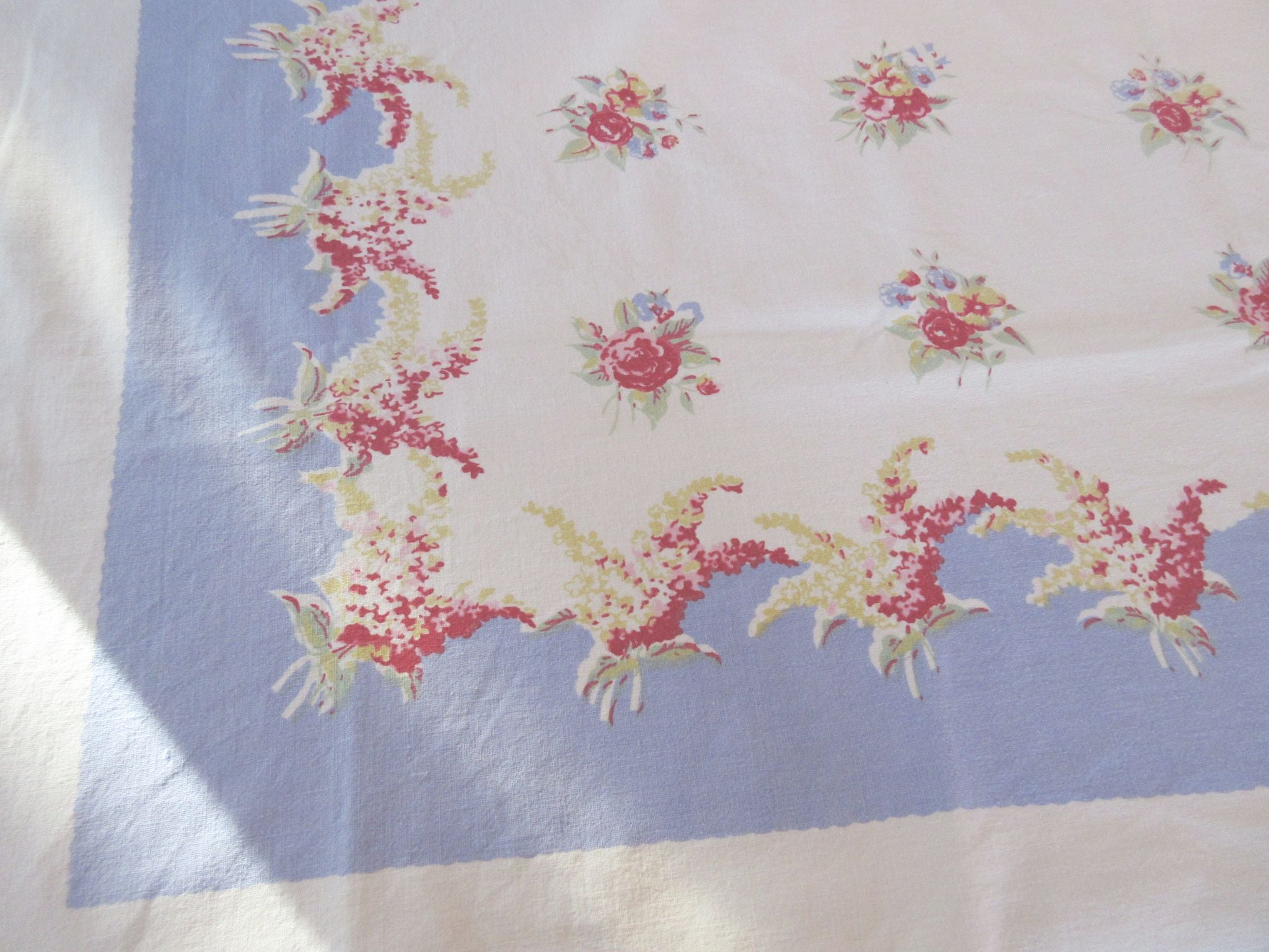 Pink Lilacs Roses on Blue Floral Vintage Printed Tablecloth (52 X 47)