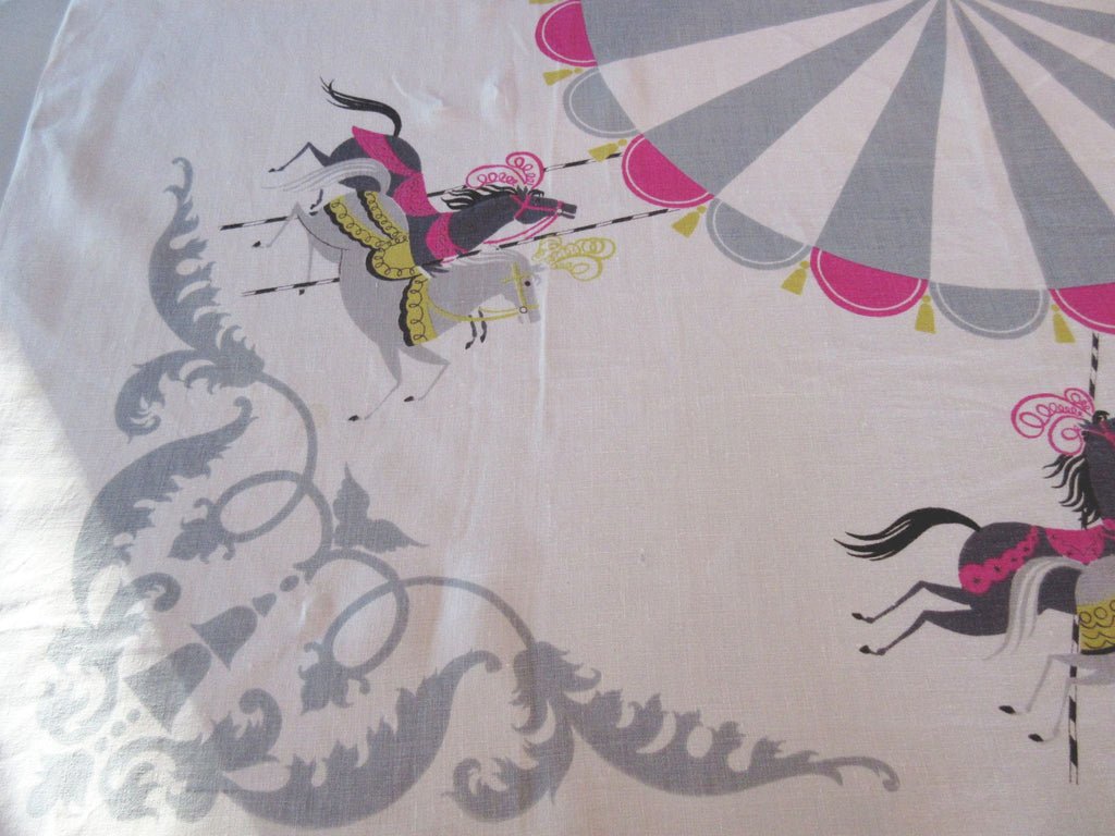 HTF Pastel Carousel Horses on Gray Novelty Vintage Printed Tablecloth (52 X 51)