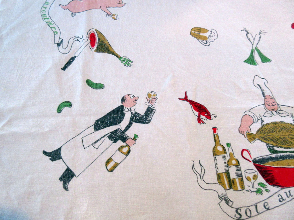 HTF Sommelier Chef Anthropomorphic Animal Fabres Novelty Vintage Printed Tablecloth (64 X 52)