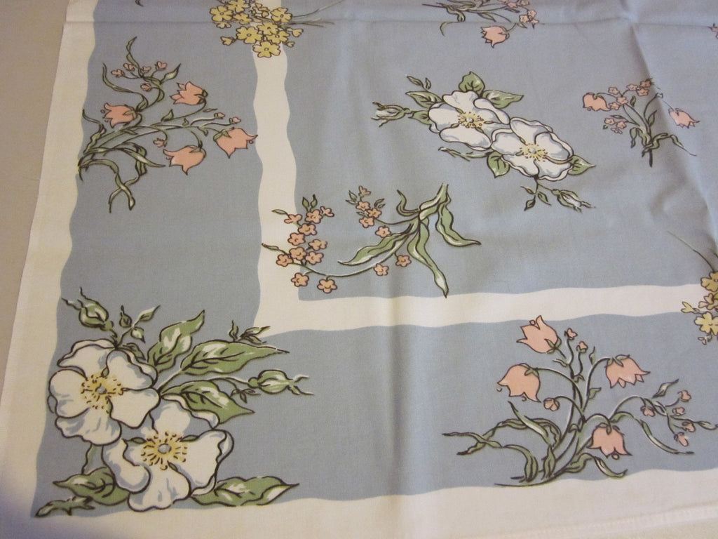 Greenaway Pastel Floral on Gray Topper Vintage Printed Tablecloth (37 X 31)