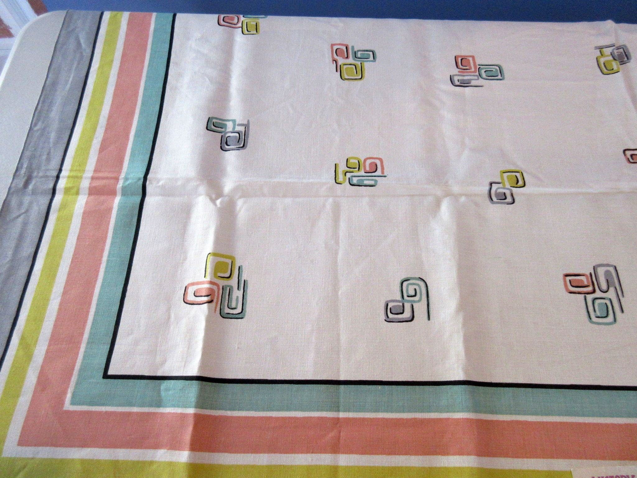 MCM Pastel Squiggles Geometric Linen MWT Novelty Vintage Printed Tablecloth (52 X 51)