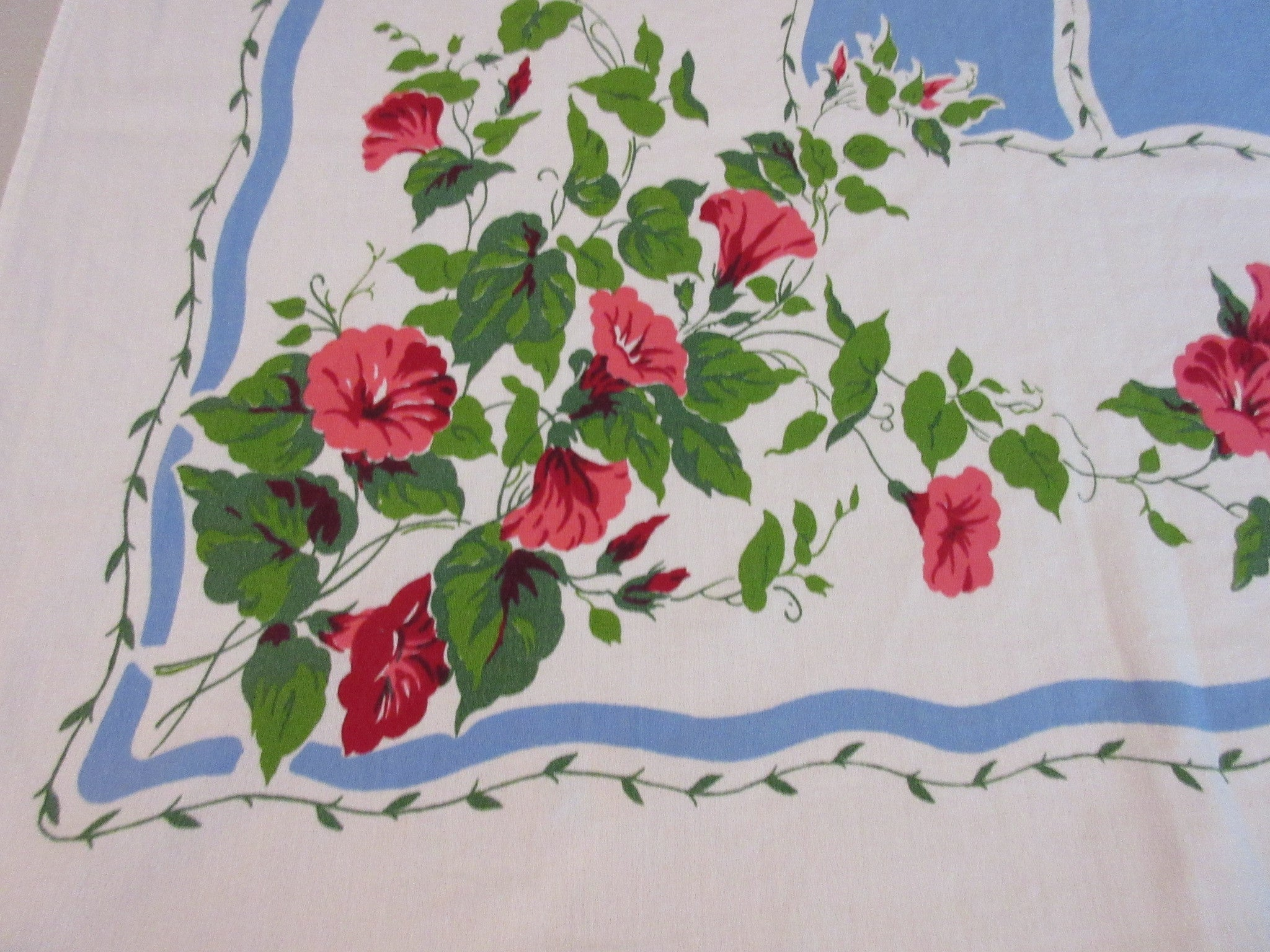 Pink Green Morning Glories on Blue Floral Vintage Printed Tablecloth (63 X 51)