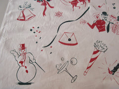 Rare Christmas Icons Banner Santa Vintage Printed Tablecloth (36 X 34)