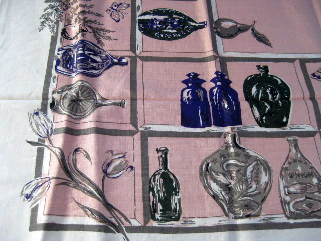Blue Bottles Shelves Pink Linen MWT Vintage Tablecloth (70 X 54 unmeasured)