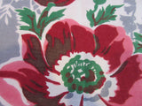 Large Pink Green Roses on Gray Ropes Napkins Floral Vintage Printed Tablecloth (81 X 60)