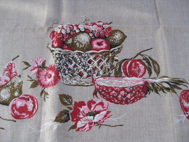 Pink Green Fruit Flowers Burlap MWT Novelty Vintage Printed Tablecloth (52 X 52 per label)