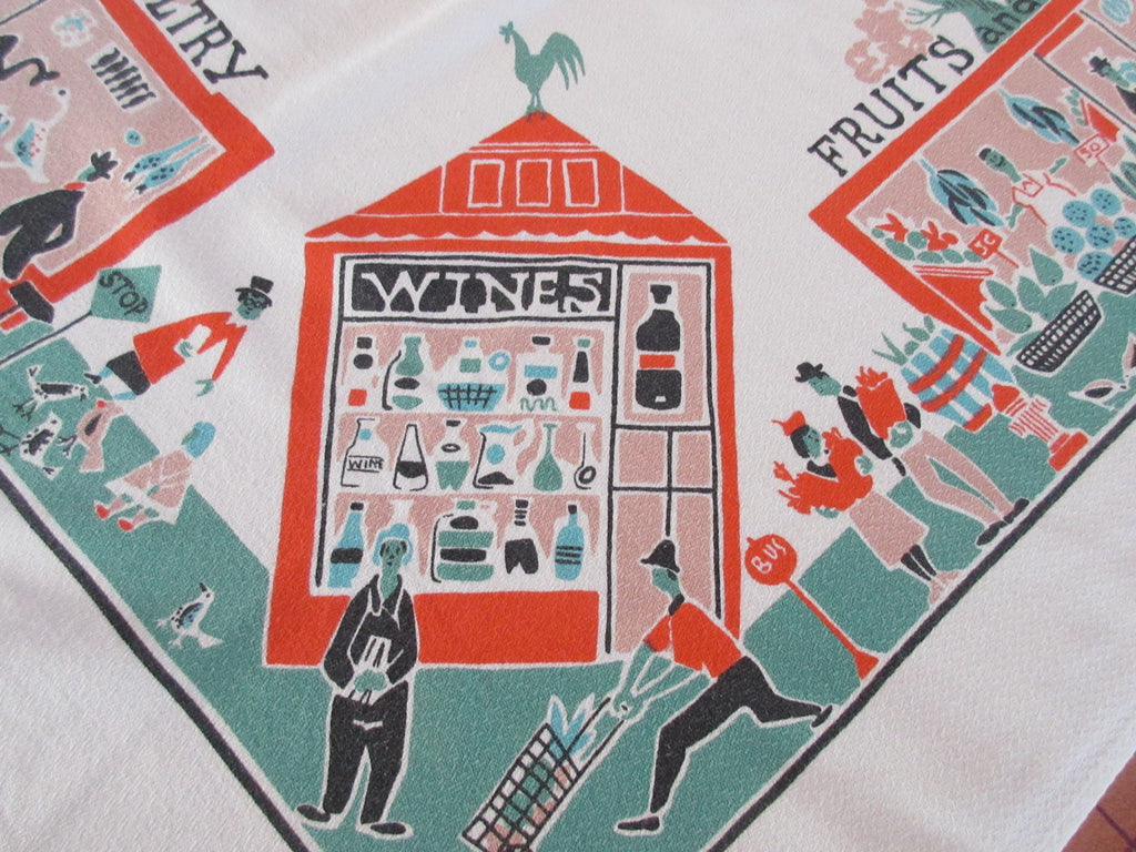 Martians Go Shopping Stores Novelty Vintage Printed Tablecloth (50 X 46)