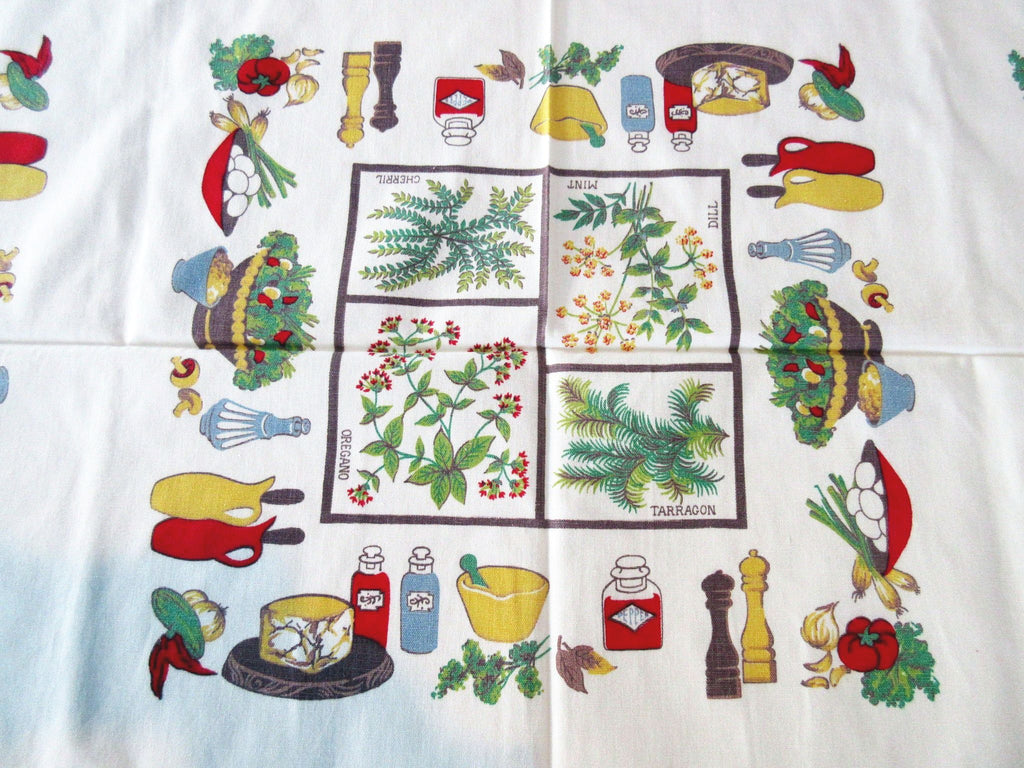 Salads in Squares Herbs Novelty Vintage Printed Tablecloth (54 X 48)