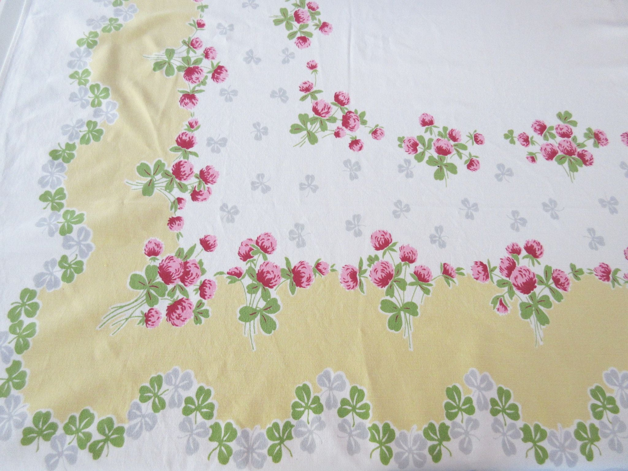 Stunning Pink Green Clover on Banana Yellow Floral Vintage Printed Tablecloth (58 X 52)
