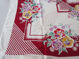 Colorful Pansies on Magenta Rayon Cutter? Floral Vintage Printed Tablecloth (48 X 46)