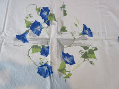 Wilendur Blue Morning Glories on Wood Trellis Floral Vintage Printed Tablecloth (67 X 54)