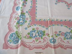 JS&S Teal Roses on Pink Linen? NWT Floral Vintage Printed Tablecloth (51 X 50)