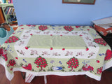 Lambs Lemon Trees Spring Green Novelty Vintage Printed Tablecloth (62 X 49)