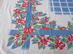 Red Stylized Flowers on Blue Grid Floral Vintage Printed Tablecloth (55 X 45)
