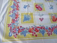 Primary Fruit on Yellow Block Sheeting Vintage Printed Tablecloth (48 X 47)