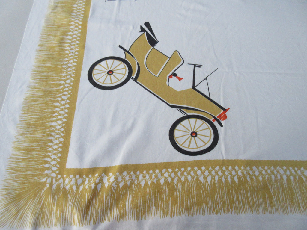 CHP Antique Car on Gold Novelty Vintage Printed Tablecloth (53 X 47)