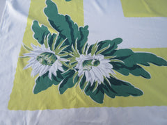 Tropical Flowers on Yellow Floral Vintage Printed Tablecloth (52 X 47)