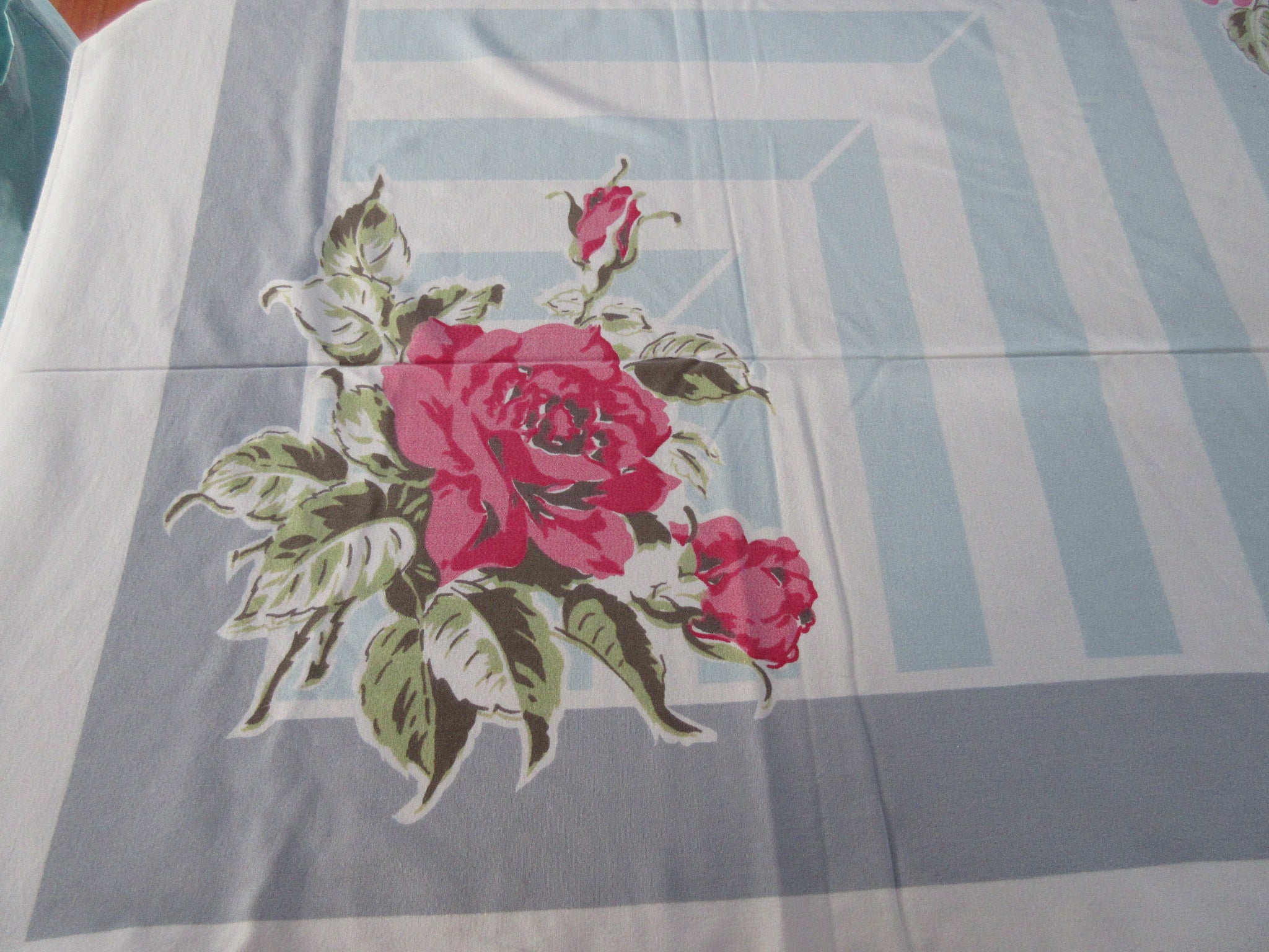 Shabby Roses on Blue Gray Stripes Cutter? Floral Vintage Printed Tablecloth (65 X 51)