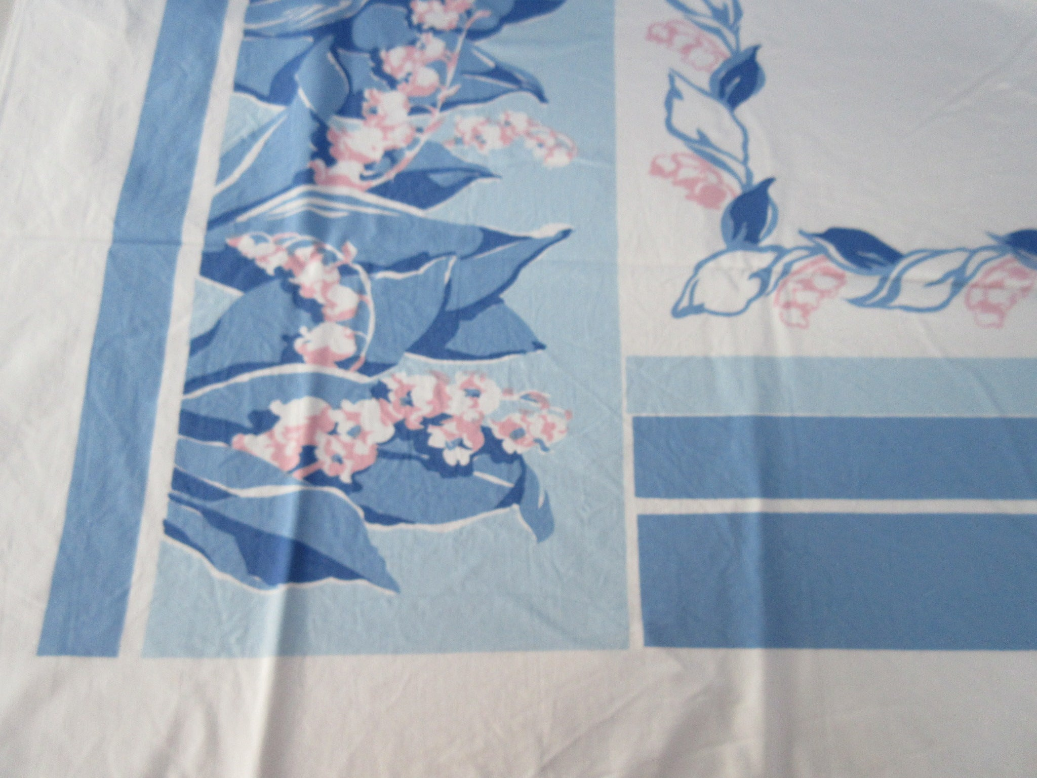 Pink Blue Lily of the Valley Cutter? Floral Vintage Printed Tablecloth (52 X 46)