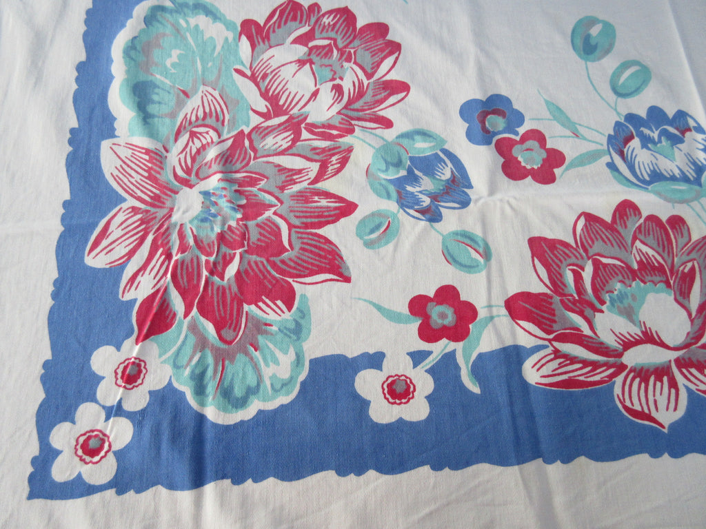Peonies on BLue Floral CUTTER Vintage Printed Tablecloth (49 X 46)
