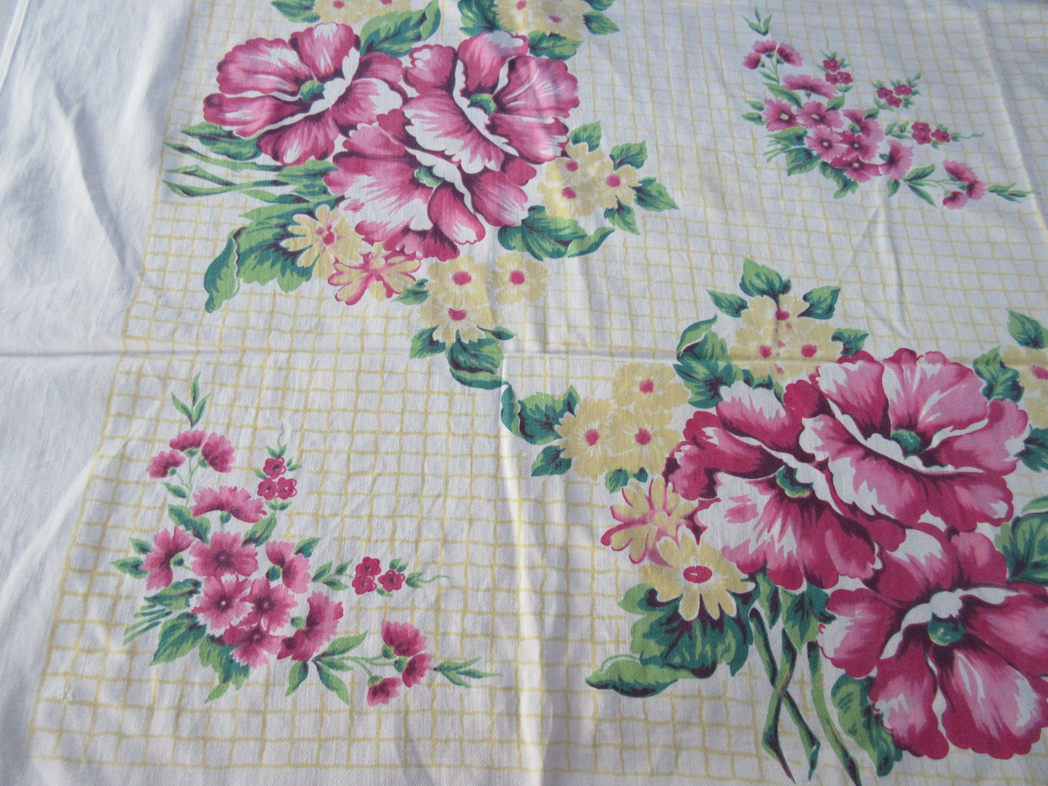 Pink Wild Roses on Yellow Grid Floral CUTTER Vintage Printed Tablecloth (52 X 45)