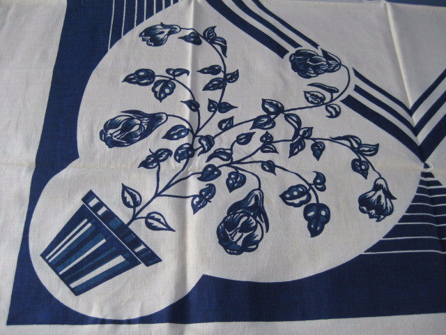 Art Deco Cobalt Fuscias Floral MWT Vintage Printed Tablecloth (49 X 48)