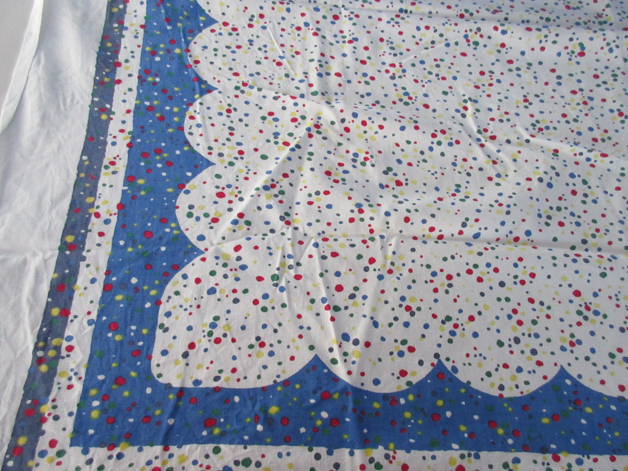 Shabby Primary Confetti on Blue Novelty CUTTER Vintage Printed Tablecloth (53 X 44)