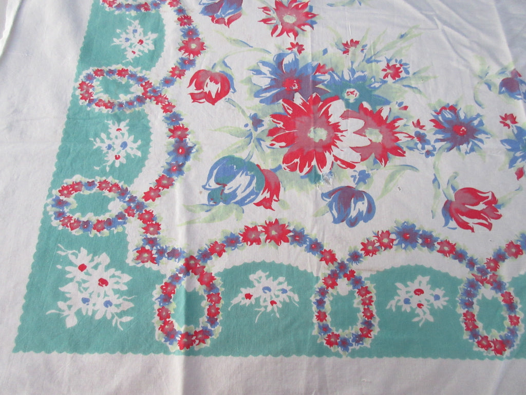 Shabby Primary Flowers on Green Floral CUTTER Vintage Printed Tablecloth (58 X 47)