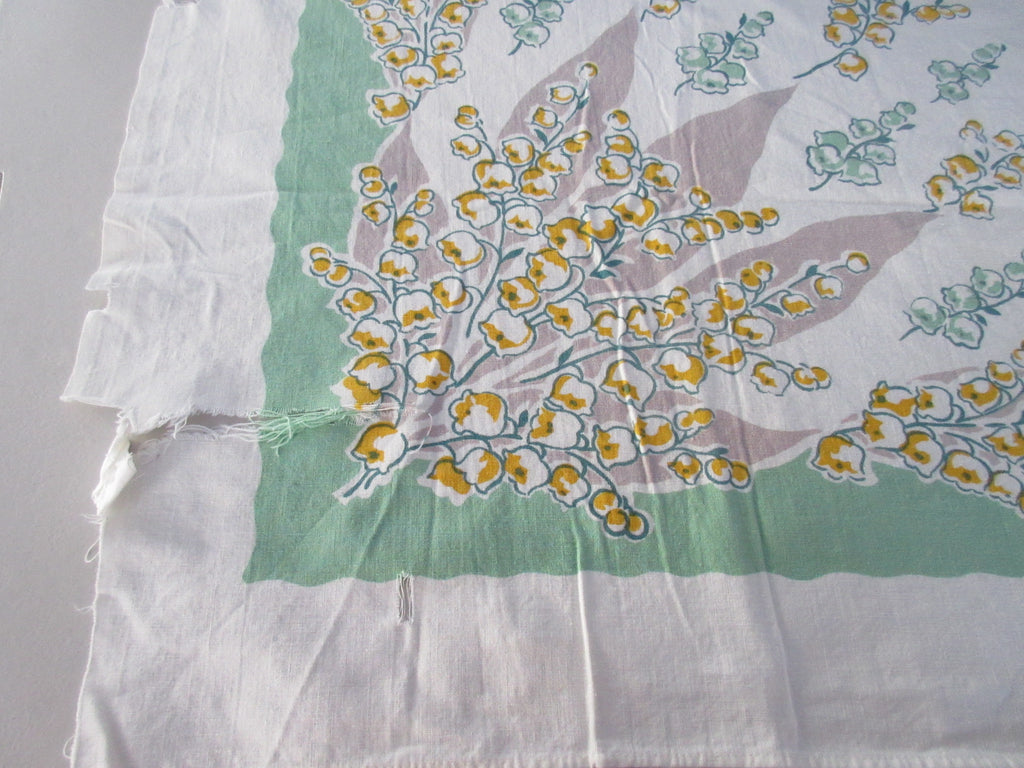 Yellow Tan Lily of the Valley on Green Floral CUTTER Vintage Printed Tablecloth (50 X 47)