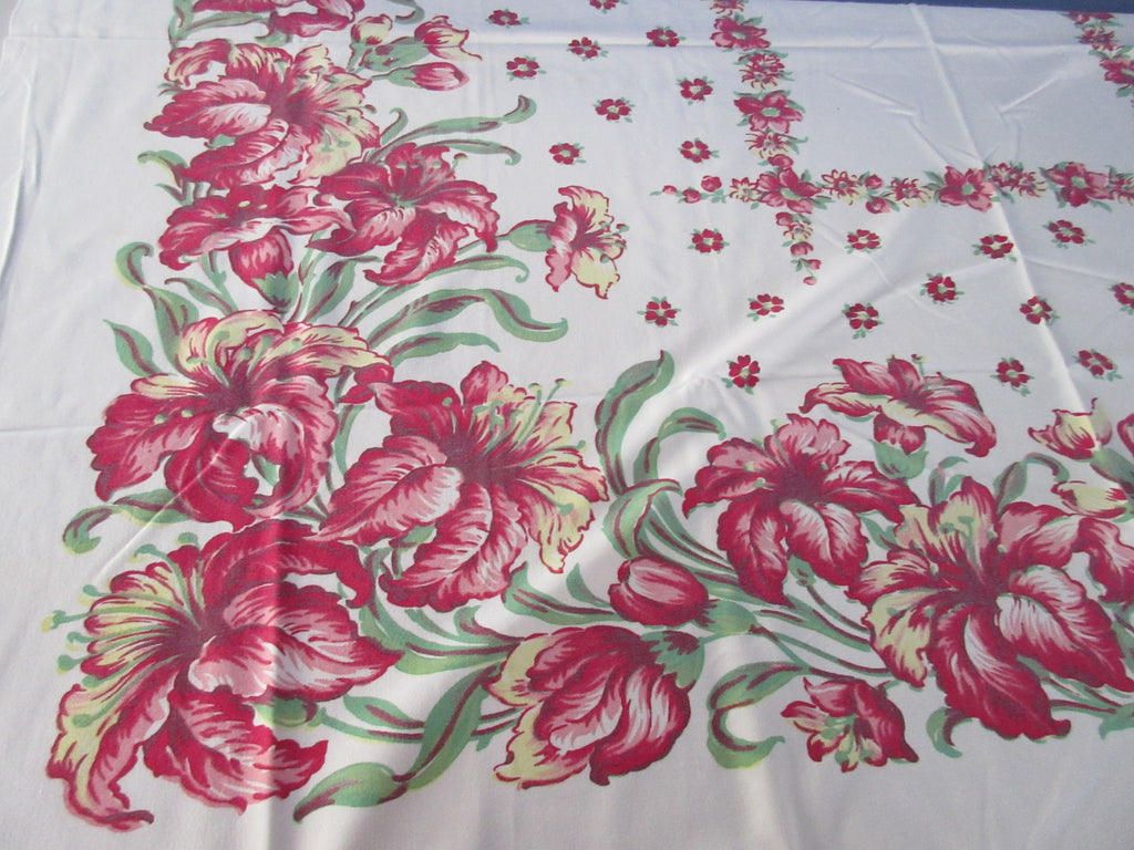 Shabby Pink Green Lilies Floral Vintage Printed Tablecloth (50 X 44)
