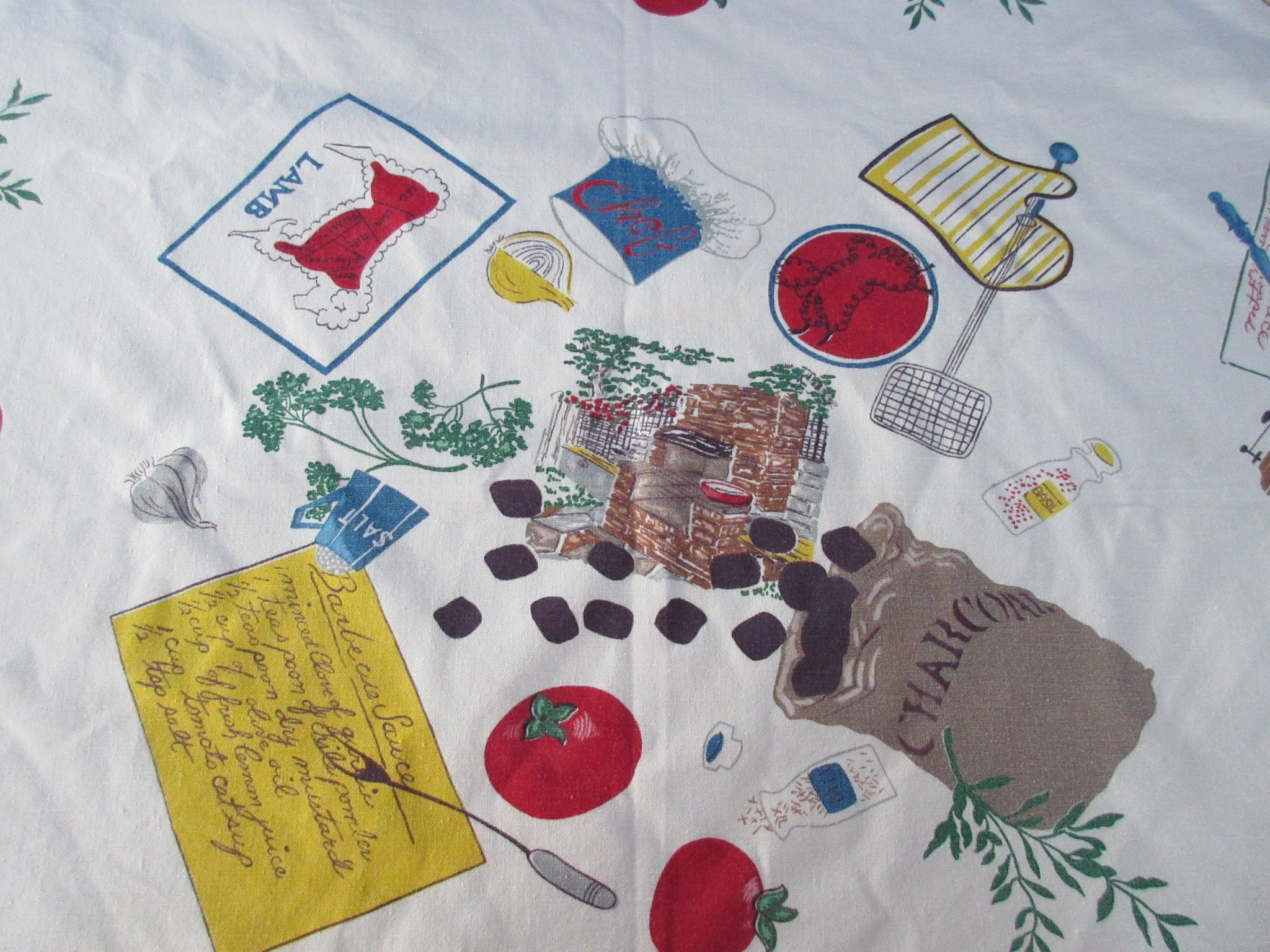 HTF Startex Barbecue BBQ Novelty Vintage Printed Tablecloth (54 X 47)