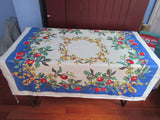 Early Primary Red Green Apples on Blue Fruit Vintage Printed Tablecloth (49 X 48)