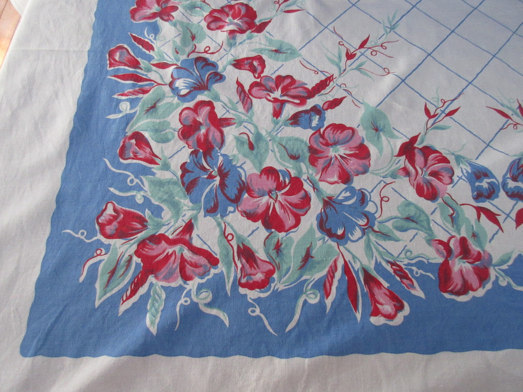 Larger Pink Morning Glories on Blue Floral Vintage Printed Tablecloth (70 X 55)