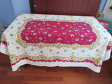 Yellow Green Daisies on Magenta Floral Vintage Printed Tablecloth (65 X 53)