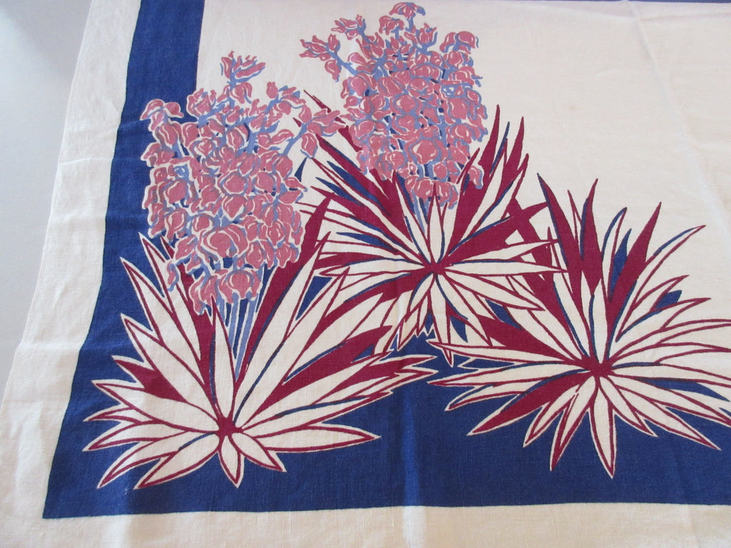 Rare Pride of Flanders Yucca on Blue Southwest Floral Vintage Printed Tablecloth (51 X 50)