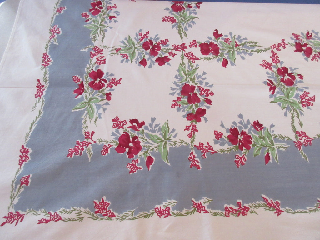 Lipstick Red Violas on Gray Floral Vintage Printed Tablecloth (63 X 52)